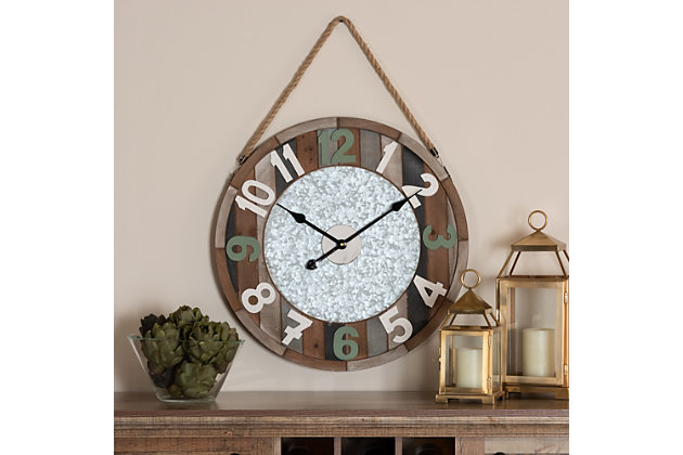 Baxton Studio Garrison Vintage Farmhouse Silver Metal and Multicolored Wood Wall Clock, , large