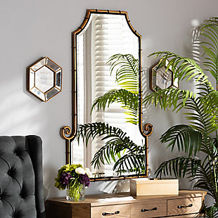 Baxton Studio Layan Glamourous Hollywood Regency Style Gold Finished Metal Bamboo Inspired Accent Wall Mirror, , rollover