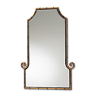 Baxton Studio Layan Glamourous Hollywood Regency Style Gold Finished Metal Bamboo Inspired Accent Wall Mirror, , large