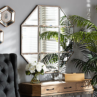 Baxton Studio Enora Modern and Contemporary Antique Bronze Finished Metal Geometric Accent Wall Mirror, , rollover