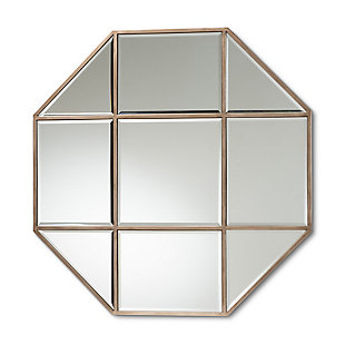 Baxton Studio Enora Modern and Contemporary Antique Bronze Finished Metal Geometric Accent Wall Mirror, , large