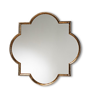 Baxton Studio Tiana Vintage Antique Bronze and Gold Finished Metal Quatrefoil Accent Wall Mirror, , large