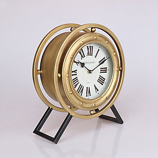 "Levi 14.5"" Standing Desk Clock in Black and Gold Metal Finish, , rollover"