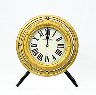 "Levi 14.5"" Standing Desk Clock in Black and Gold Metal Finish, , large"