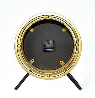 """Levi 14.5"""" Standing Desk Clock in Black and Gold Metal Finish, , large"""