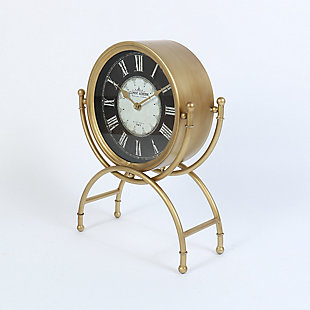 "Dubois 19.25"" Standing Desk Clock in Gold Metal Finish, , rollover"