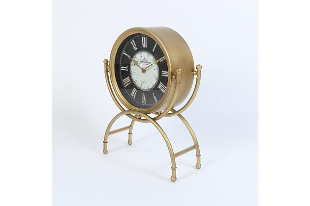 "Dubois 19.25"" Standing Desk Clock in Gold Metal Finish, , large"