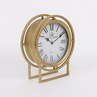 "Ripley 16"" Standing Desk Clock in Gold Metal Finish, , rollover"