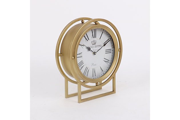 "Ripley 16"" Standing Desk Clock in Gold Metal Finish, , large"