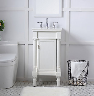 "Lexington 18"" Single Bathroom Vanity Set, Antique White, rollover"