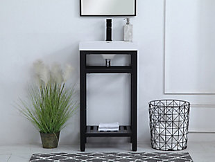 "Raya  18"" Single Bathroom Metal Vanity, Black, rollover"