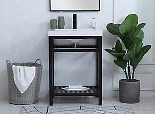 "Raya  24"" Single Bathroom Metal Vanity, Black, rollover"