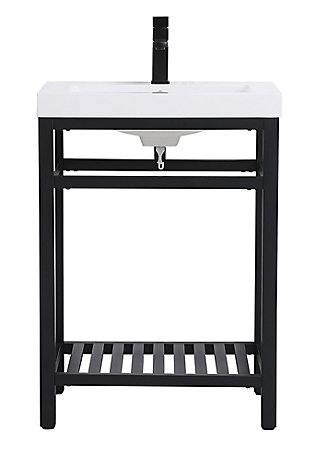 "Raya  24"" Single Bathroom Metal Vanity, Black, large"