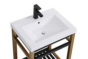 "Raya 24"" Single Bathroom Metal Vanity, Golden Black, large"