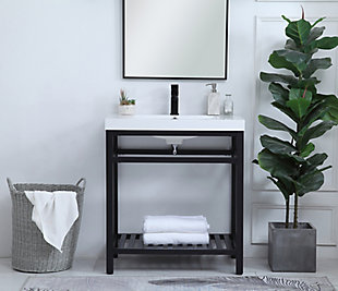 "Raya  30"" Single Bathroom Metal Vanity, Black, rollover"