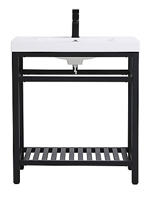 "Raya  30"" Single Bathroom Metal Vanity, Black, large"