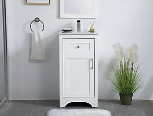 "Moore  18"" Single Bathroom Vanity, White, rollover"