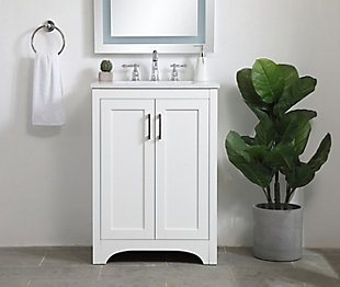 "Moore  24"" Single Bathroom Vanity, White, rollover"