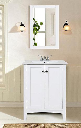 """Mod 24"""" Single Bathroom Vanity Set, White, large"""