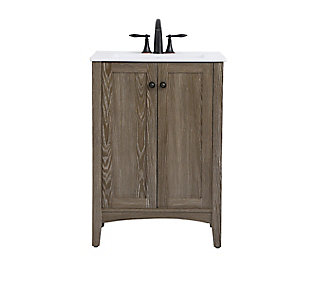 "Xylem  24"" Single Bathroom Vanity Set, Weathered Oak, large"