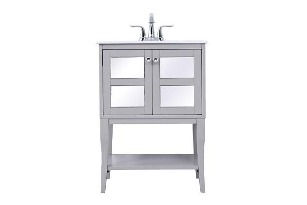 "Mason 24"" Single Bathroom Mirrored Vanity Set, White, large"