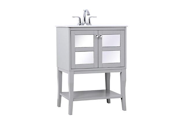 "Mason 24"" Single Bathroom Mirrored Vanity Set, Gray, large"