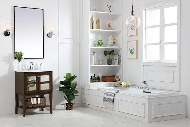 "Mason 24"" Single Bathroom Mirrored Vanity Set, Antique Coffee, large"