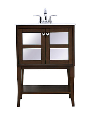 "Mason 24"" Single Bathroom Mirrored Vanity Set, Antique Coffee, large"
