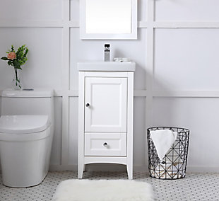 "Saturn  18"" Single Bathroom Vanity Set, White, rollover"