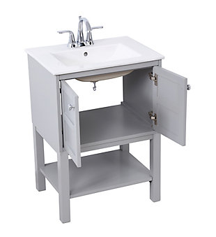 "Shaker 24"" Single Bathroom Vanity Set, Gray, large"