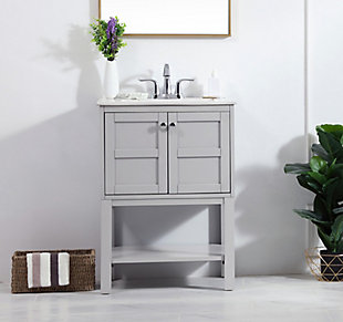 "Shaker 24"" Single Bathroom Vanity Set, Gray, rollover"