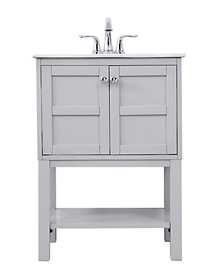 "Shaker 24"" Single Bathroom Vanity Set, Gray, large"
