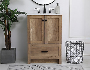 "Weathered 24"" Single Bathroom Vanity, Natural Oak, rollover"