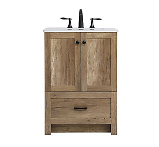 "Weathered 24"" Single Bathroom Vanity, Natural Oak, large"