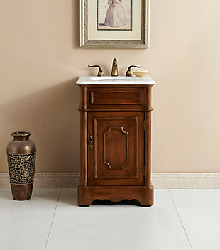 "Retro 21"" Single Bathroom Vanity Set, Teak, rollover"