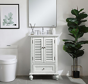"Rhodes 24"" Single Bathroom Vanity, Antique White, rollover"