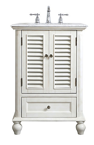 "Rhodes 24"" Single Bathroom Vanity, Antique White, large"