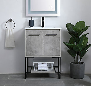 "Gerard  24""  Single Bathroom Vanity, Concrete Gray, rollover"
