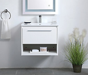 "Kasper  24""  Single Bathroom Floating Vanity, White, rollover"