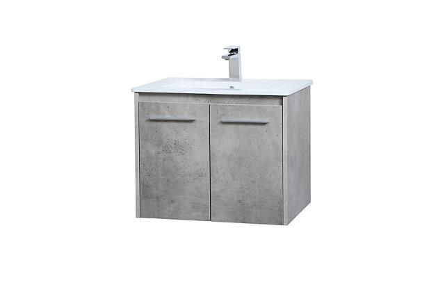 "Kasper  24""  Single Bathroom Floating Vanity, Concrete Gray, large"