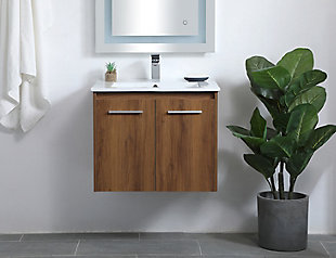 "Kasper  24""  Single Bathroom Floating Vanity, Walnut Brown, rollover"