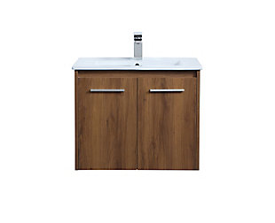 "Kasper  24""  Single Bathroom Floating Vanity, Walnut Brown, large"