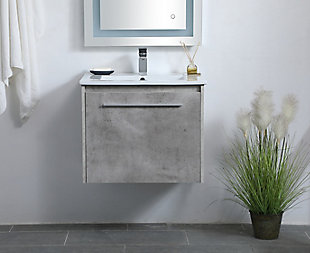 "Kasper  24""  Single Bathroom Floating Vanity, Concrete Gray, rollover"