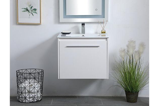 "Kasper  24""  Single Bathroom Floating Vanity, White, large"