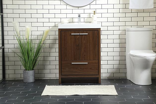 """Wyatt 24"""" Single Bathroom Vanity, Walnut, large"""
