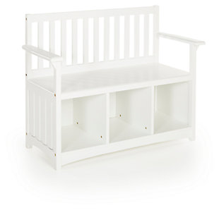 Classic White Storage Bench, , large