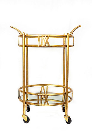 A Touch of Design Colette 2-Tier Gold Rolling Bar Cart, , rollover