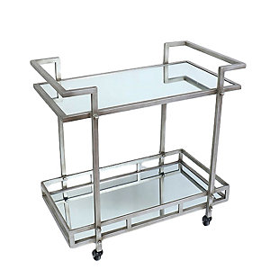 A Touch of Design Ariella 2-Tier Chrome Rolling Bar Cart, , rollover