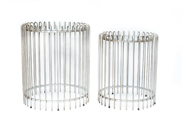 A Touch of Design Bayside Round Iron End Tables (Set of 2), , large