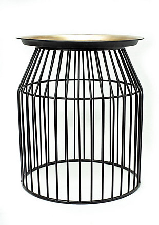 A Touch of Design Harvey Gold and Black Iron End Table, , large
